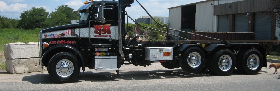 S&A Container Service dumpster delivery truck